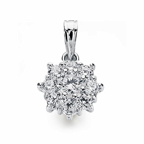 18k white gold pendant zircons rennet 13mm. [AA1820]