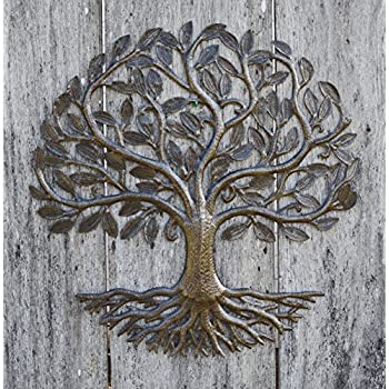Metal Wall Art, Haiti, Tree of Life, Recycled Steel Garden Art, Fair Trade, 23