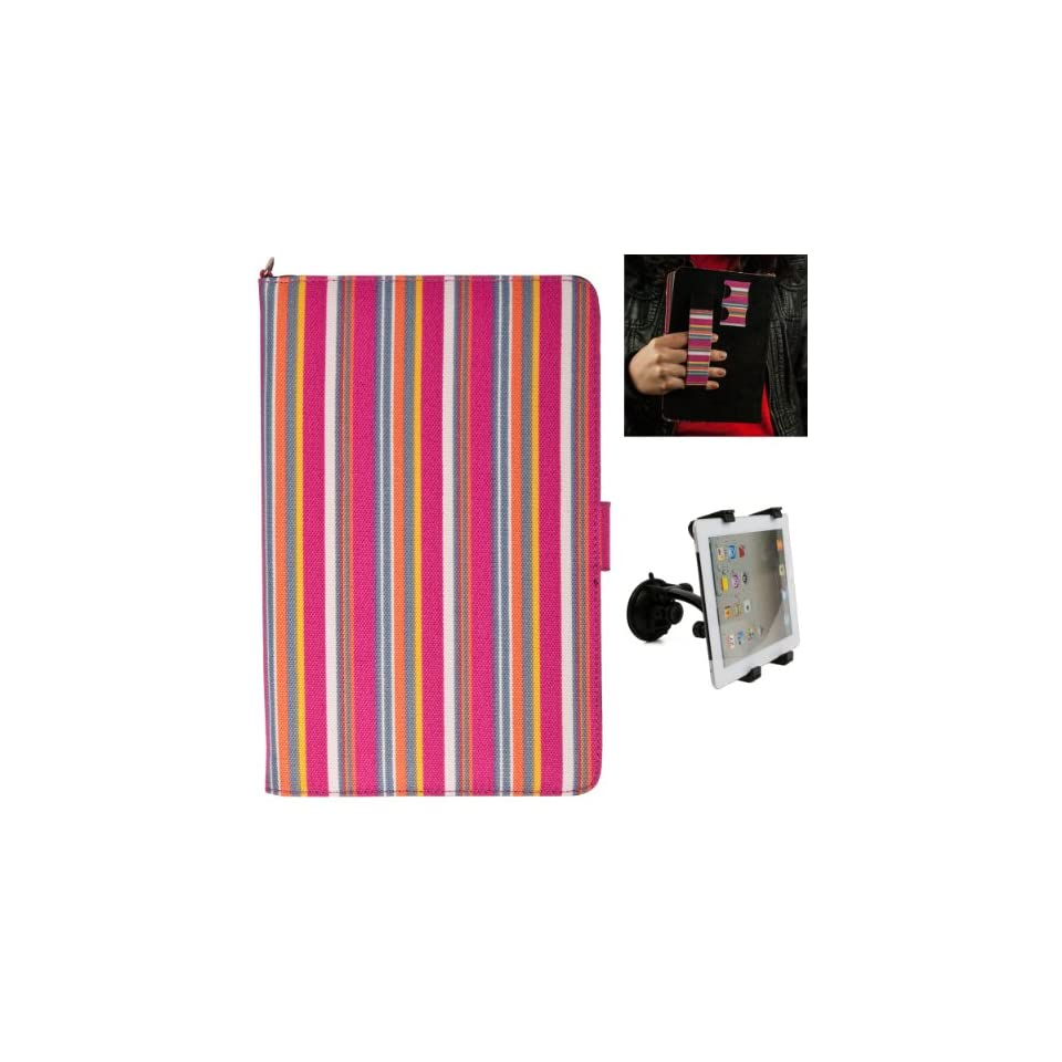 (Candy Colorful Stripes) Dauphine Edition Protective Book Style Canvas Carrying Case for Visual Land Prestige 7 Internet Tablet (ME 107 8GB) + Universal Adjustable Windshield Mount for 7 10 inch Tablets Computers & Accessories