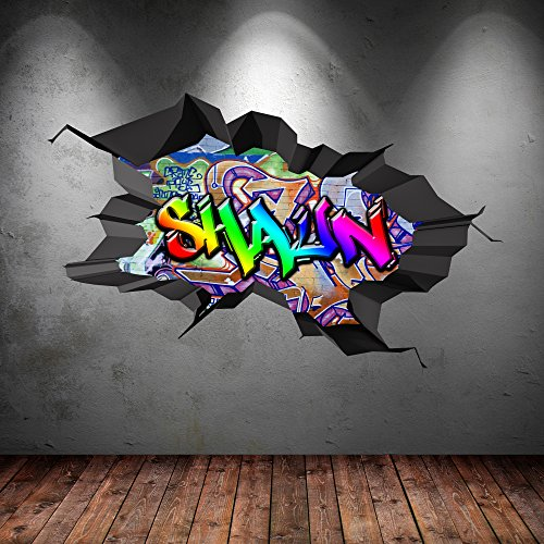 Multi volle farbe personalisiert 3d graffiti name - Wandsticker graffiti ...