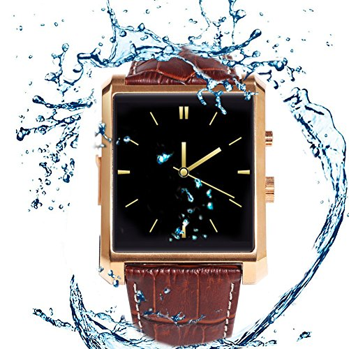 """Qkking Deluxe Edition Calfskin Belt Waterproof 1.5"""" 1.3MP Bluetooth 4.0 Smart Watch DM08 WristWatch with Full HD IPS Display for Android & IOS (Iphone) with Camera Recorder Pedometer Sleep Monitoring-Golden"""