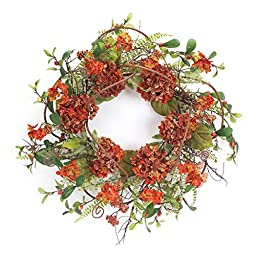 Melrose International Rust Colored Hydrangea Wreath with Berries and Green Leaves, 20-Inch