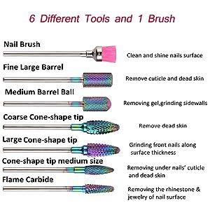 AORAEM Tungsten Carbide Nail Drill Bits Set 7Pcs Acrylic Nail File Drill Bit For Nail Electric Drilling Machine Accessory Manicure Pedicure 3/32 (Rainbow) (Color: Rainbow)