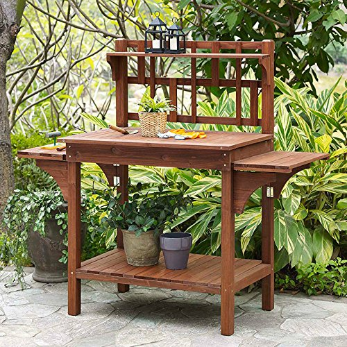 Garden Potting Bench with Storage Shelf Wood Outdoor Large Work Table plans Gardening Planting Station- Brown (Coral Coast Potting Bench compare prices)