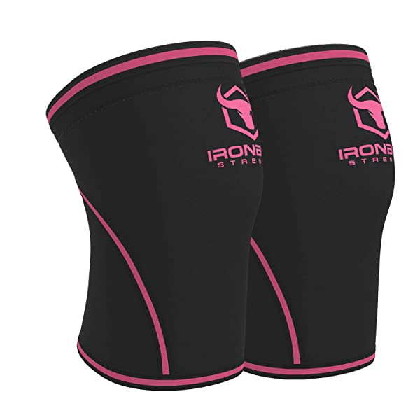 Knee Sleeves 7mm (1 Pair) - High Performance Knee Sleeve Support For Weight Lifting, Cross Training & Powerlifting - Best Knee Wraps & Straps Compression - For Men and Women (Black/Pink, Large) (Color: Black/Pink, Tamaño: Large)