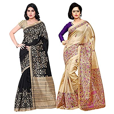 Applecreation silk saree combo , pack of 2 saree For diwali great indian sale offers for women's