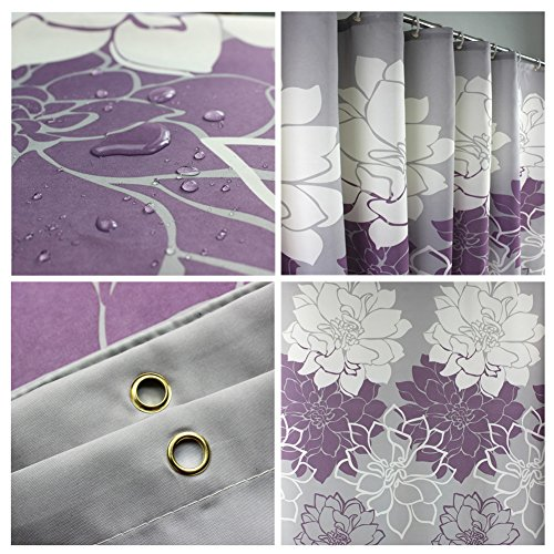 HOMEIDEAS Shower Curtainwith HooksPolyester Fabric72x78