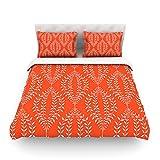 """Kess InHouse Anneline Sophia """"Laurel Leaf Orange"""" Red Floral King Cotton Duvet Cover, 104 by 88-Inch"""