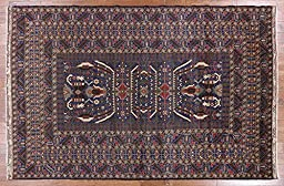 7\'x11\' Geo-Floral Tribal Navy Blue Afghan Hand Knotted Wool Area Rug P1373