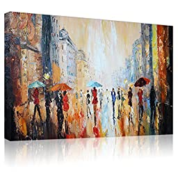 IARTS Paris Streetscape in Rain 100% Hand Painted Acrylic Contemporary Oil Paintings Framed Modern Artwork Wall Art for Home Decorations,Bright Brown,24x36 Inch ,Ready to Hang