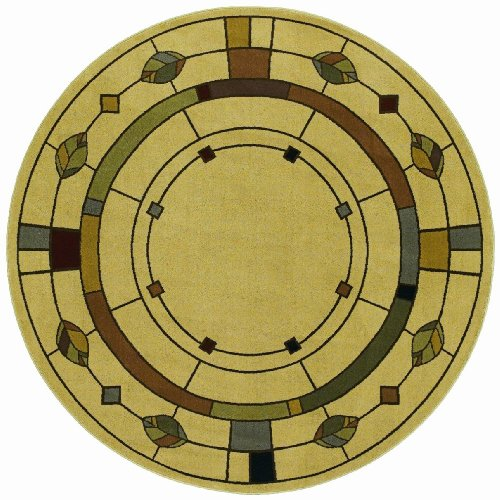 Shaw Living Timber Creek By Phillip Crowe 7-Foot 8-Inch Round Rug in Mission Leaf Pattern, Beige