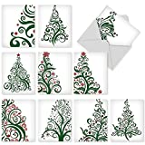 M5019sl Just Fir You: 10 Assorted Christmas Note Cards Featuring Stylized, Fashionable Christmas-Tree Imagery, w/White Envelopes.