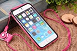 Nancy's Shop [Borderline Series] Apple Iphone 6 (4.7-inch) Hang Rope Case - Long Neck Strap Hang Rope Design TPU Hybrid Bumper Shock Absorbent Case for Apple Iphone 6 (4.7-inch) At&t, Sprint, Verizon, Tmobile Verizon, T-mobile, International(iphone 6 4.7 Hang Rope Bumper Rose Red Nancy's Shop Case Cover)