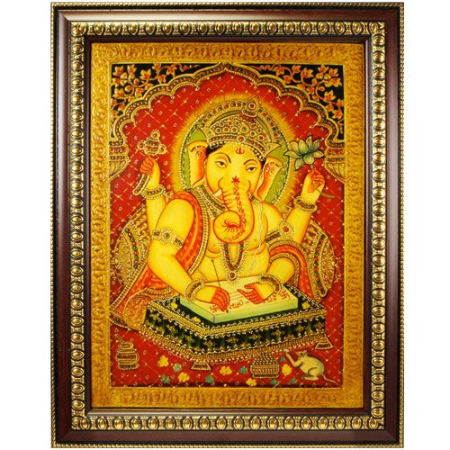 Hand Painted Scripture Ganesh Painting Frame