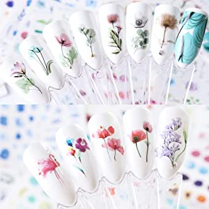 Nail Decals for Women & Girls Fingernail Decorations Nail Art Accessories 24 Sheets Nail Stickers with Assorted Patterns Water Transfer Blossom Flower Flamingo Stickers Set Manicure Charms Tip Decor (Color: Nail 6)