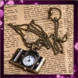 Vintage style camera pocket watch locket pendant quartz bronze long necklace