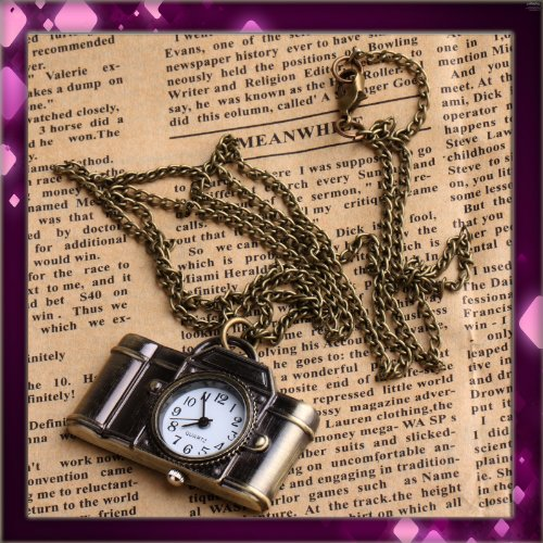 Come 2 Buy Vintage style camera pocket watch locket pendant quartz bronze long necklace