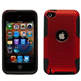 Red Fire Fushion Back Cover Case with Black Skin for Apple iPod Touch 4th Generation (Red)