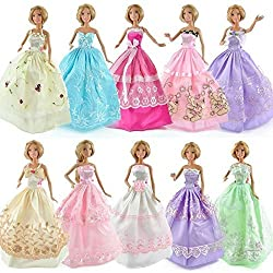 Top Sun 20 Items Contain 10pcs Barbie Doll Dress 5 Pairs Shoes 5pcs Plastic Hangers Handmade Gorgeous Beautiful Ball Gown With Tons Of Ruffles Party Clothes Dress Fit Barbie Doll
