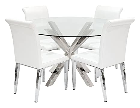 Febland Crossly Dining Table with 4 White Kirkland Chairs, Metal, Chrome