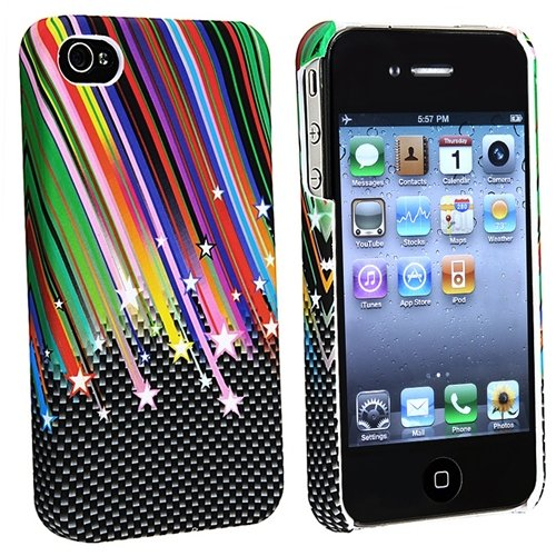 Rainbow Star Rubber Hard Slim Case Cover Compatible With iPhone® 4 G iPhone® 4S - AT&T, Sprint, Version 16GB 32GB 64GB