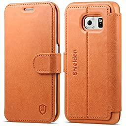 Galaxy S6 Edge Case, SHIELDON Genuine Leather Samsung Galaxy S6 Edge Wallet Case, Premium [Slim] [Card Slots] [Magnetic Flap] Flip Case Cover with Stand for Samsung Galaxy S6 Edge, Brown