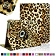 Fintie Apple iPad 2/3/4 Case - 360 Degree Rotating Stand Smart Case Cover for iPad with Retina Display (iPad 4th Generation), the new iPad 3 & iPad 2 (Automatic Wake/Sleep Feature) - Leopard Brown