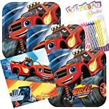 Blaze And The Monster Machines Party Plates and Napkins Serves 16 With Birthday Candles