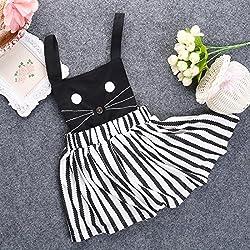 WangsAura Baby Girls Cat Pattern Dress Suspenders Braces Skirt