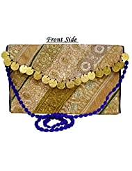 Eco-friendly Zari And Thread Embroidered Indian Shoulder Bag Stylish Purse With Golden Coins - B01BF3NIXG