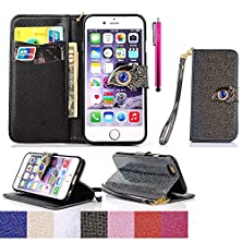 buy Iphone 6S Case, Jcmax [Ladies Series] Ultra Slim Synthetic Leather Wallet Case [Build In Stand] No Fading Durable With Shock Protective For Iphone 6S - Black