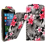 For Nokia Lumia 520 Pink Flower On Dark Grey Printed PU Leather Magnetic Wallet Flip Case Protection Cover Pouch + 2X Guards