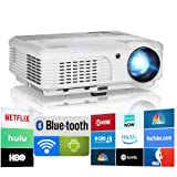 2019 Bluetooth Projector WiFi Android LCD LED Smart Video Projectors Home Theater 4400 Lumens Support HD 1080P Airplay HDMI USB RCA VGA AV for Smartphone DVD Game Consoles Laptop Outdoor Movie (Color: Wireless,Bluetooth, 4400 lumen)