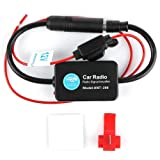 12V Ant - 208 Car Radio FM AM Antenna Signal Amplifier Booster for Marine Car Boat RV (Color: black)