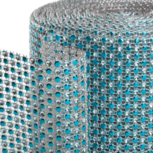 Koyal 2-Tone Diamond Rhinestone Ribbon Wrap, Aqua