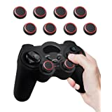 Fosmon [Set of 8] Analog Stick Joystick Controller Performance Thumb Grips for PS4 | PS3 | Xbox ONE, ONE X, ONE S, 360 | Wii U - Black & Red (Set of 8)