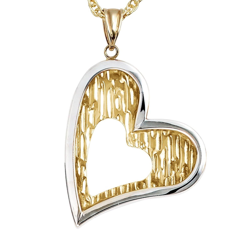 Damen Gold Anhänger Herz 333 Gold Gelbgold teilrhodiniert als Weihnachtsgeschenk kaufen