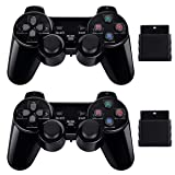 2 Pack Wireless Controller 2.4G Compatible with Sony Playstation 2 PS2 (Jet Black) (Color: Wireless Controller, Tamaño: 2 Pack)