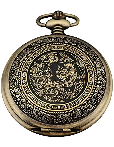 AMPM24 WPK062-Orologio da tasca uomo,Metallo,Drago&Fenice Cinese,Analogico Quarzo,+ Catenella,colore:Bronzo