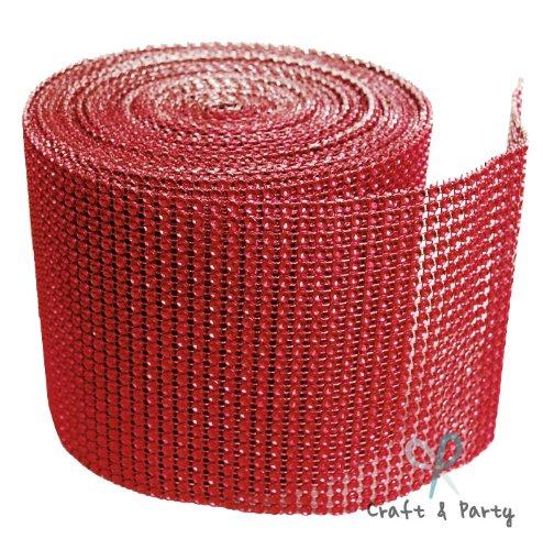 Red Diamond Mesh Wrap Roll Rhinestone Crystal Ribbon 4.5