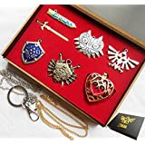 6 Pcs / Set The Legend of Zelda Triforce Hylian Shield Master Sword Keychain/necklace/ornament Collection