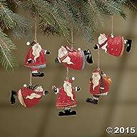 Set of 6 Painted Tin Santa Folk Decor…