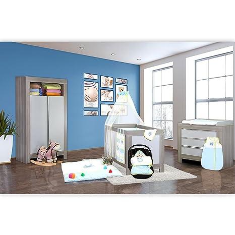 Babyzimmer Felix in akaziengrau 18 tlg. mit 2 turigem Kl. + Kleine Eule in Blau