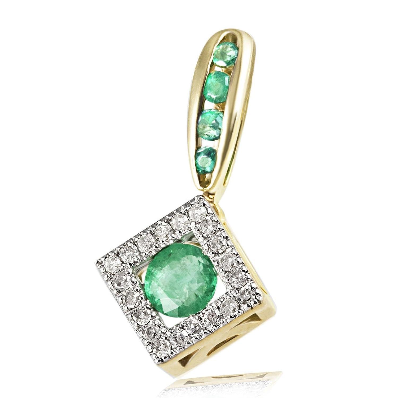 Goldmaid Damen-Anhänger 375 Gelbgold 20 Diamanten 0,10 ct. 5 grüne Smaragde Fa A5947GG jetzt kaufen