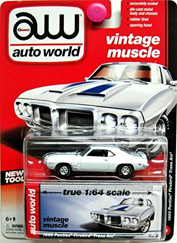 Auto World 1:64 Vintage Muscle 1969 Pontiac Firebird Trans Am White No. 2