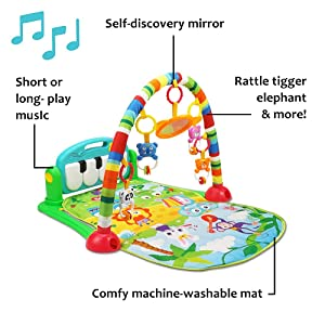 Baby Gym Musical Play Mats for Floor Kick and Play Piano Gym Activity Center with Music Lights and Sounds Fitness Rack Crawling Mat for Infants and Toddlers Aged 0 to 6 12Months Old