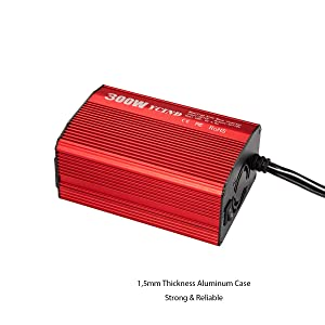 YCIND 300W Modified Sine Wave Inverter DC12V to 110vAC 2 US Outlets 4.8A Dual USB Car Inverter Adapter Charger