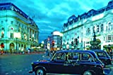 London Black Hackney Taxi Cabs Piccadilly Circus London Mini PAPER Poster Measures 23.5