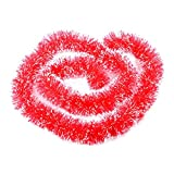 SUPPION Christmas Tree Tinsel Hanging Garland, Xmas Party Ornaments Decorations 2m (Red)