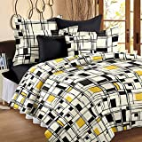 Story@Home Elegant Plaid Print Mix N Match Double Bedsheet With 2 Pillow Covers 100% Cotton Satin Double Size Checked Printed bedspread, Yellow